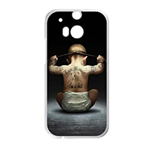 HTC One M8 Cell Phone Case White Cool Cute Baby Bear Tattoo Back LV7971451