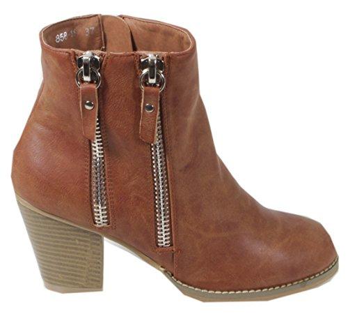 trendBOUTIQUE - botas de vaquero de material sintético mujer marrón - Brown - zwei Reißverschlüsse - camel