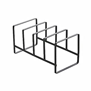 Huayoung 4 Compartment Black Metal Vertical Plate Holder Cutting Board Rack  Kitchen Dish Plate Storage Organizer