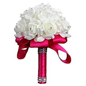 ALISHA BRYANT Rose Bridesmaid Wedding Foam Flowers Rose Bridal Bouquet Ribbon Fake Flower Wedding Bouquet,Rose Red 74