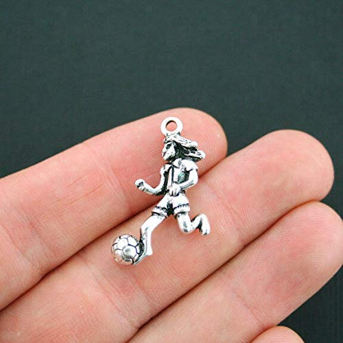 2 Soccer Player Charms Antique Silver Tone 3D Girl - SC4792 - Jewelry Accessories Chain Bracelet Necklace ()