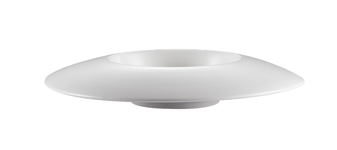 CAC China PS-110 12-Ounce Porcelain Round Bowl with Wide Draping Rim, 11 by 2-Inch, Super White, Box of 12