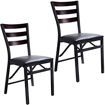 Amazon Com Cosco 2 Pack Wood Folding Chair With Vinyl