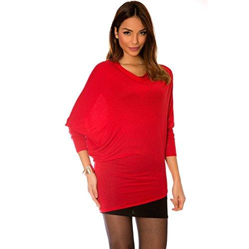 Miss Wear Line - Tunique rouge style chauve souris à col bateau