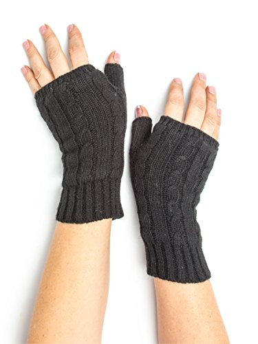 Fingerless Gloves Wrist Warmers (Amber, Cable Knit Armwarmers, Wool Fingerless Gloves, Wrist Warmers (Black))