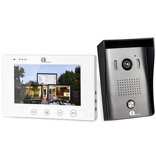 7 Color Video - 1byone Video Doorphone 2-Wires Video Intercom System with 7-inch Color Monitors, Surface Mounted HD Camera Doorbell and 49ft Cable
