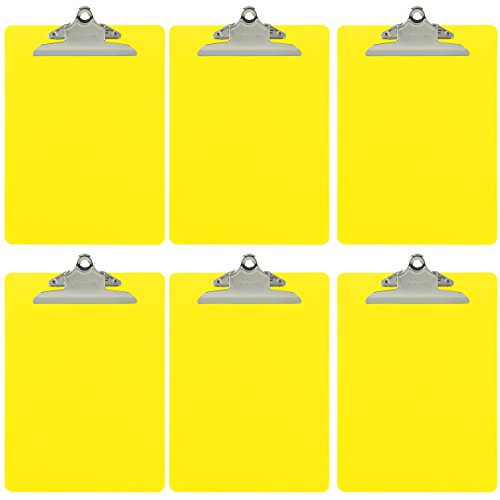 Trade Quest Plastic Clipboard Opaque Color Letter Size Standard Clip (Pack of 6) (Yellow)