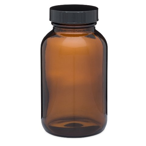 Heavy Glass Medical Screw-Top Packer Bottles Wide Mouth Container Jars Clear Amber 8.3 oz 250cc Size Package of 6 Units