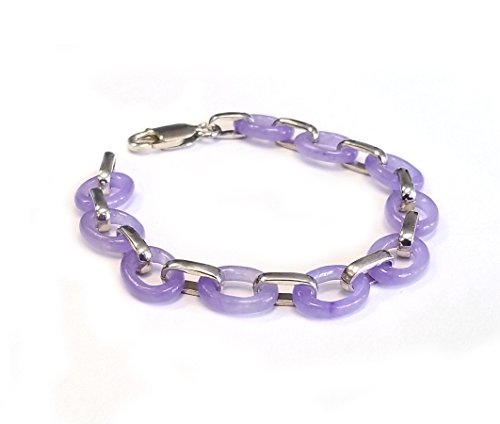 Jade or Mother of Pearl Oval Link Bracelet in .925 Sterling Silver 7.5