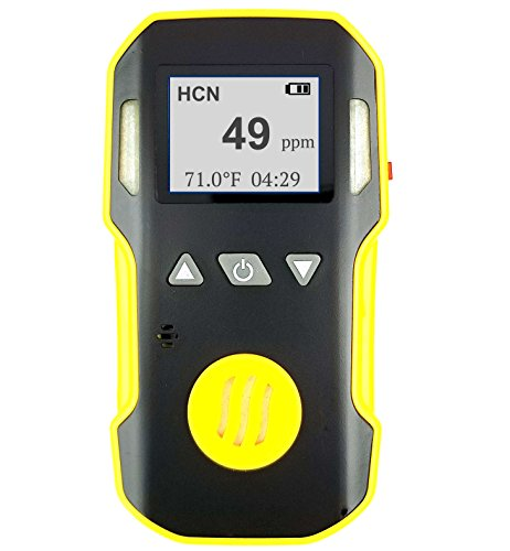 Hydrogen Cyanide HCN Detector by FORENSICS | Professional Series | Water, Dust & Explosion Proof | Li-ion Battery 1500mAh | Adjustable Sound, Light & Vibration Alarms | 0-50ppm HCN |