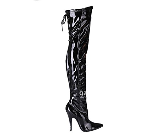 Bottes Long Breveté NVXIE EUR39UK665 Pointe Toe Nightclub Stretch Femmes Nouvelle Noir up Dames Mode Lace Talon Haut Cuir Cuisse Automne Sexy de Hiver Boot Delight Party 1 8wErwHq