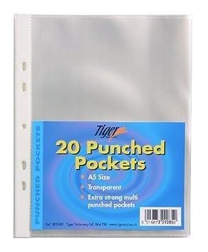 Tiger - Fundas de plástico taladradas, resistentes, tamaño A5, 100 unidades: Amazon.es: Oficina y papelería