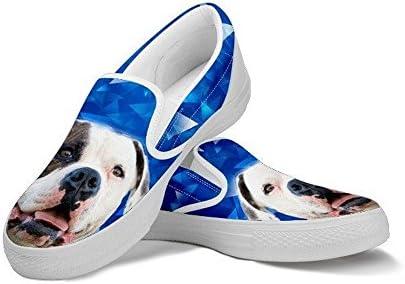 Pawlice American Bulldog Dog Print Slip Ons Shoes for Women for American Bulldog Dog Lovers