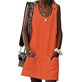 Women Casual Summer Button Mini Dress Plain Sleeveless Tank Dresses
