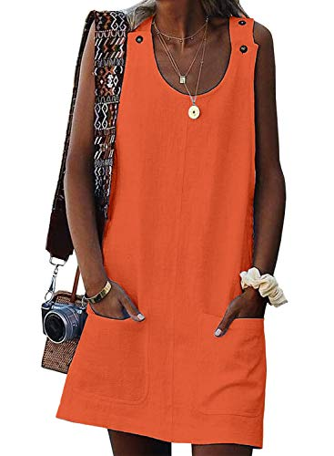 (Eytino Women Summer Sundress Casual Sleeveless Tank Shift Dress with Pocket,X-Large Orange )