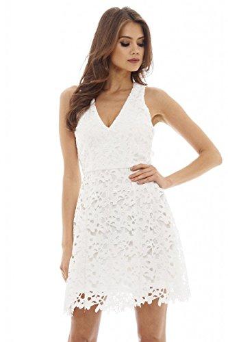 cream lace mini dresses - 8