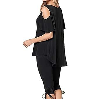 ICOCOPRO Women Cold Shoulder Flounce Short Flutter Sleeve With Asymmetrical Hem Loose Top T-shirt Blouse Black M
