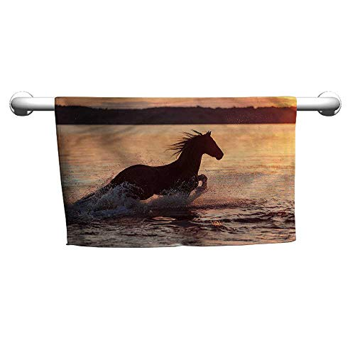 - flybeek Hand Towel Equestrian,Horse Sea at Sunset,Towel Rings for Bathroom