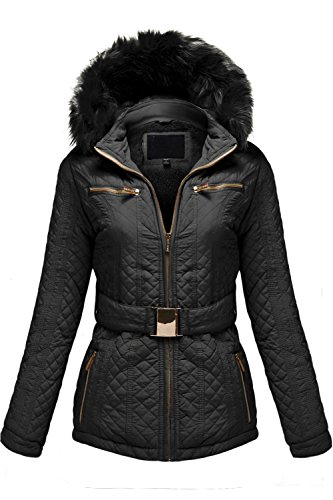 Detachable Fuax Fur Hoodie Quilted Padding Jackets,BLACK,XL