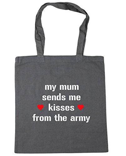 HippoWarehouse mi madre Me envía besos desde el Ejército Bolsa de la compra bolsa de playa 42cm x38cm, 10litros gris grafito