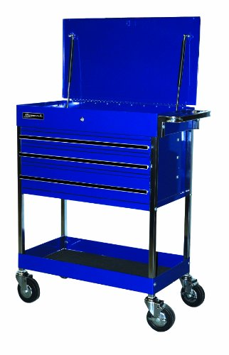 Homak BL05500200 34-Inch Professional 3 Drawer Service Cart, Blue