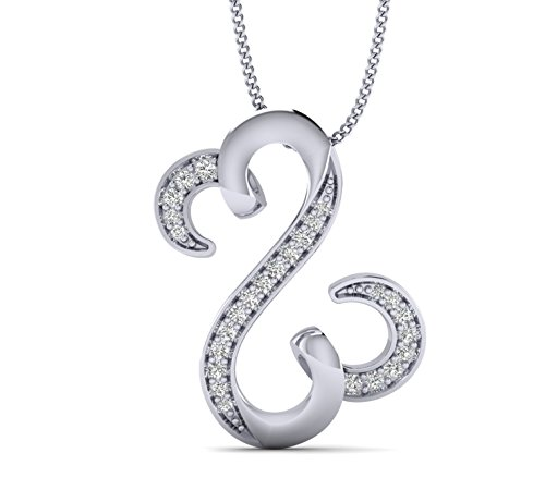 Open Diamond Heart Earrings (Fehu Jewel 0.13cts Natural Diamond Gold Over Sterling Silver Jane Seymour Heart Pendant for Her (White-Gold-Plated-Silver))