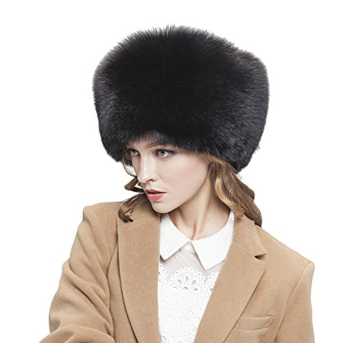 Womne's Fox All Fur Zhivago Pill Box Fur Hat with Fox Tails Natural Color (One Size Fits All, Black) by Starway0311