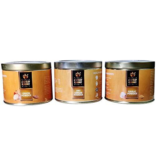 OOSH Gourmet's Combo of Onion Powder , Garlic Powder & Dry Ginger Powder   Cooking Essentials,300 G
