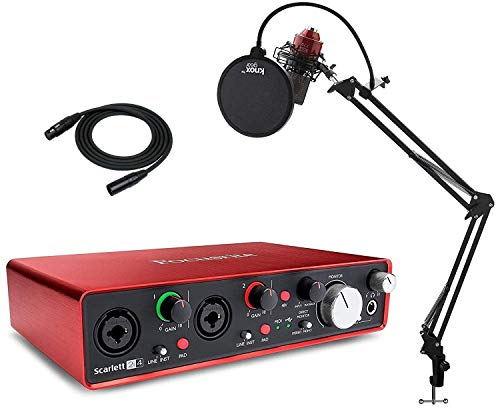 Focusrite Scarlett 2i4 (2nd Gen) USB Audio Interface with Pro Tools and MXL 770 Condenser Microphone, Studio Stand, Pop Filter and XLR Cable