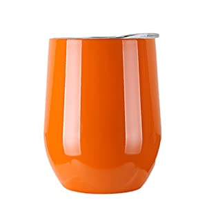 Raleighsee 9 OZ Stainless Steel Wine Glasses Wine Tumbler Cup Heat Preservation Cup Great for Red Wine Cocktail Liquors Beverages (Orange)