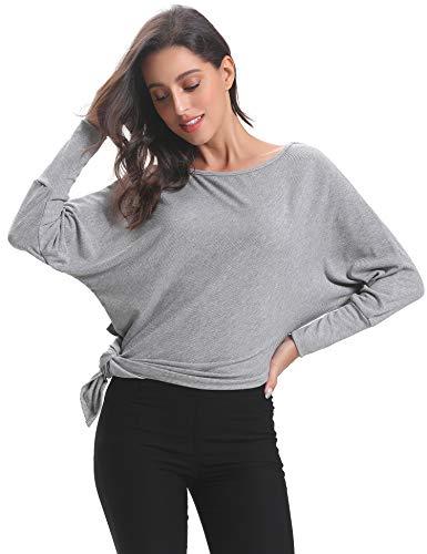 Maglietta Donna a Asimmetrica Lunga Grigio Elegante Manica a Autunno Pipistrello per Maglia Maglione Abollria Yx0pqw4C