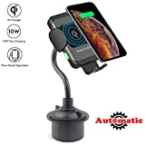 Cup Holder Phone Mount Wireless Car Charger, Lenture Qi 7.5W 10W Auto Clamping Fast Charging Gooseneck Phone Cradle Compatible for iPhone Xs/Max/X/XR/8/8 Plus Samsung Galaxy Note 9/S9/S8/S7/S6