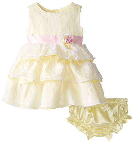 Nannette Baby-Girls Newborn 2 Piece Satin Dress with Lace Overlay and Panty, Yellow, 9 Months