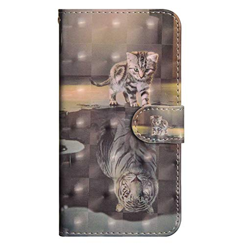 iPhone SE/iPhone 5 / iPhone 5s Case, UNEXTATI PU Leather Flip Folio Wallet Cover with Credit Card Holder and Magnetic Closure for Apple iPhone SE/iPhone 5 / iPhone 5s, Cat and Tiger