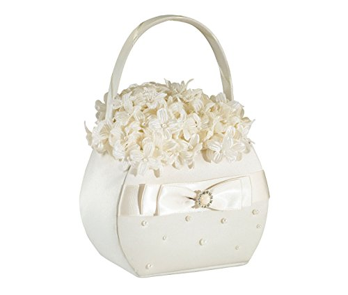 (Lillian Rose Elegant Scattered Pearl Flower Girl Basket Ivory)