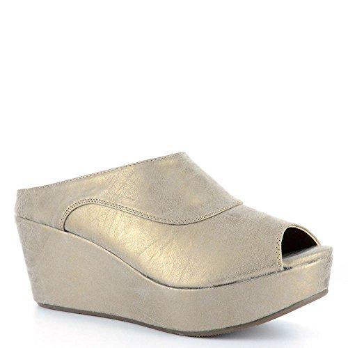 Indigo Leather Platforms (Corky's Women's Indigo Slip On Platform Wedge (6, Brushed Gold))
