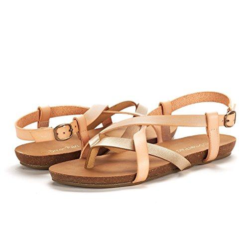 Slingback PAIRS 01 gold DREAM Bold Women's Blush Flat Sandals atYRqW1