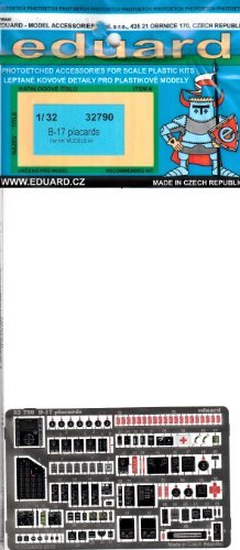 EDU32790 1:32 Eduard Color PE - B-17 Flying Fortress Placards (for use with the HK Models kit) MODEL KIT ACCESSORY by Eduard