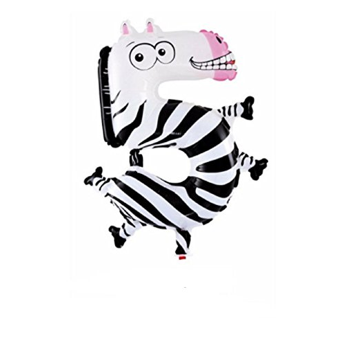 Hot Sale! 1Pcs Animal Number Foil Balloon Wedding Happy Birthday Party Decoration Balloons Kids Babys Children's Toys Gifts (Zebra Style)