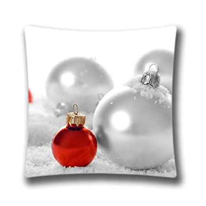 christmas and happy new year red and white christmas balls throw pillow case retro style christmas - White Christmas Balls