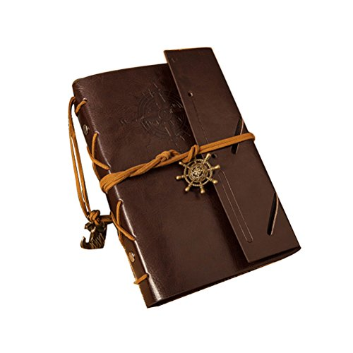ULTNICE Classic Vintage Anchor Rudder Pattern PU Leather Cover Notebook Travel Diary Sketchbook Coffee