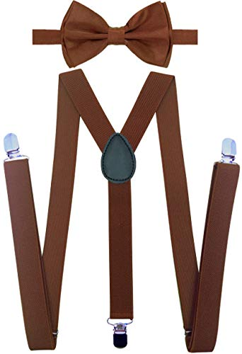 Y-Back Suspenders and Bow Tie Matching Set, Pre-Tied, Clip Design, Elastic, Adjustable Straps, Classic | Great for Weddings,Parties,Graduations, Theme Party | Nice&Unique Gifts for Men ()