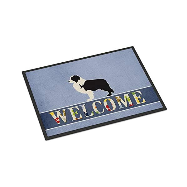 Caroline's Treasures BB5527MAT Black Border Collie Welcome Indoor or Outdoor Mat 18x27, 18H X 27W, Multicolor 1