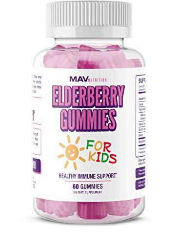 Elderberry Gummies Immune System Booster for Kids Vitamins - Vitamin C + Zinc Supplement + Echinacea - Non-GMO; NO Gelatin; NO Fructose Corn Syrup; Gluten Free (Best Zinc Supplement For Kids)