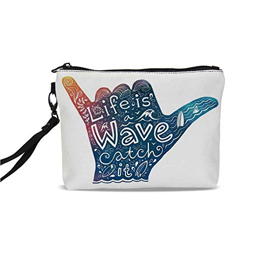 (Wave Simple Cosmetic Bag,Life is a Wave Catch It Inspirational Quote Shaka Sign Cute Floral Sea Details Art Decorative for Women,9