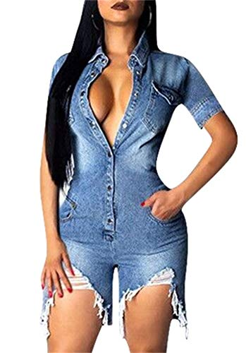 Molisry Womens Summer Casual Short Sleeves High Waist One Piece Destroyed Ripped Jean Demin Jumpsuits Romper Overall ()