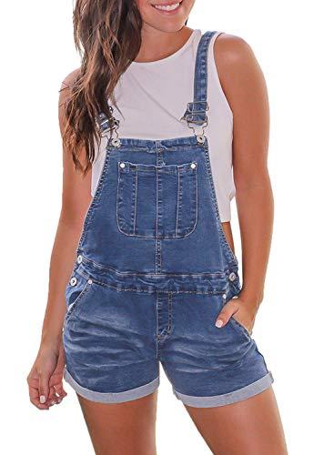 Aleumdr Womens Fashion Loose Fit Jean Jumpsuits Rolled Cuffs Plus Size Denim Short Overalls Size 2XL Dark Blue