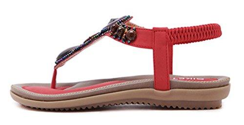 Femmes Rétro Rouges Aisun Chaussures Ribambelle Diviser Orteil Sandales Élastiques qZS66pBHT