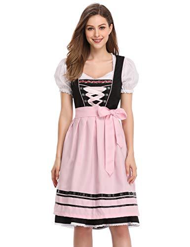 GloryStar Women's German Dirndl Dress 3 Pieces Traditional Bavarian Oktoberfest Costumes for Halloween Carnival (M, Gorgeous Light Pink) -