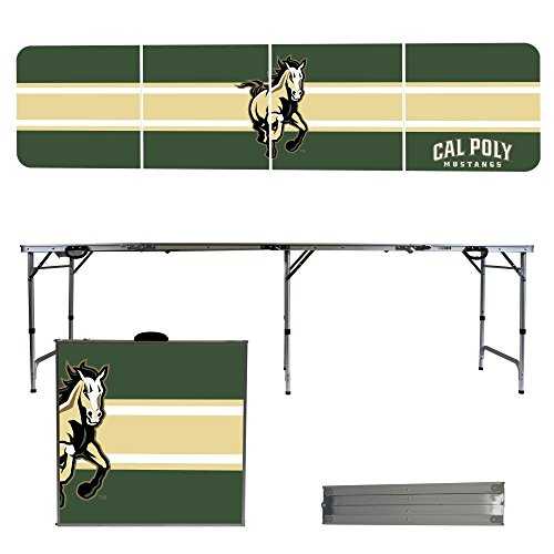 NCAA Cal Poly Mustangs Stripe Version 8 Foot Portable Folding Tailgate Table, Multicolor, One Size by Victory Tailgate